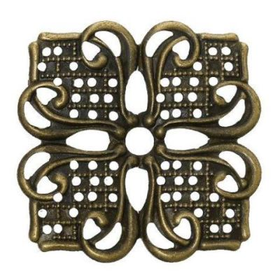 Antique Bronze Filigree Wraps Connectors | Brass Square Flower Metal Stampings - Embellishments