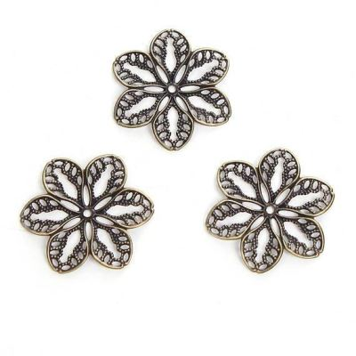 Antique Bronze Flower Filigree Connectors Links | Brass Metal Stampings - Embellishments