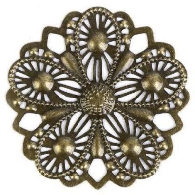 Antique Bronze Flower Filigree Metal Stamping - Embellishments