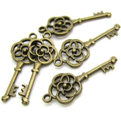 Antique Bronze Flower Skeleton Key Charms