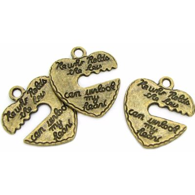Antique Bronze He Who Holds The Key Can Unlock My Heart Charm - Charms