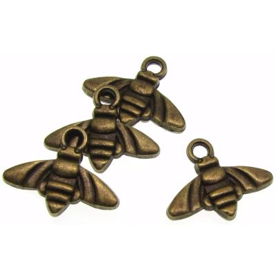 Antique Bronze Honey Bee Charm / Queen - Charms