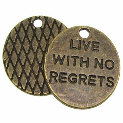 Antique Bronze Live With No Regrets Charms