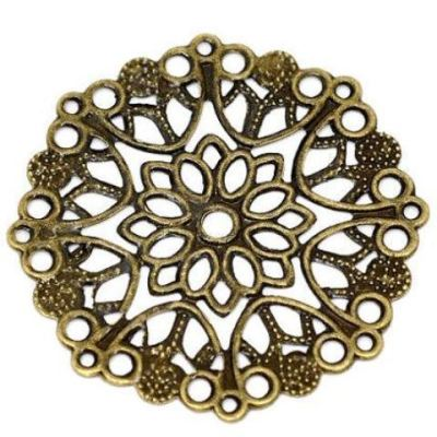 Antique Bronze Metal Stampings | Brass Ox Filigree Flower Wraps | Connectors | Links - Embellishments