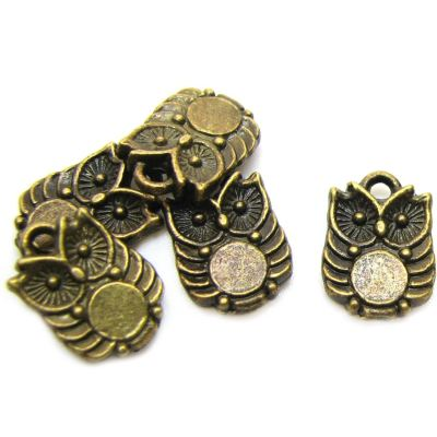 Antique Bronze Owl Charms (Double-Sided)