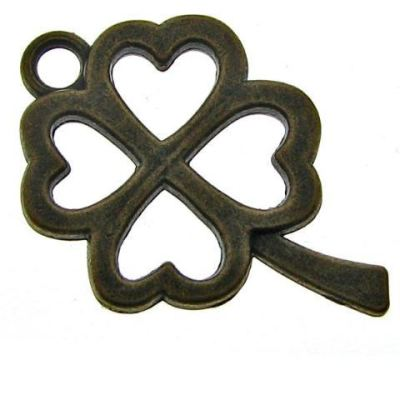 Antique Bronze Shamrock Charm | Brass Ox Four Leaf Clover Pendant - Charms