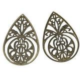 Antique Bronze Teardrop Filigree Links| Metal Jewelry Stampings Perfect For Earrings - Embellishments