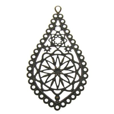 Antique Bronze Teardrop Filigree Links / Metal Jewelry Stampings Perfect For Earrings - Embellishments
