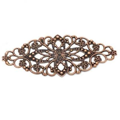Antique Copper Filigree Flower Wraps | Metal Jewelry Stampings - Embellishments