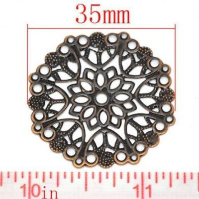 Antique Copper Filigree Metal Stampings | Ox Flower Wraps | Jewelry Connectors | Links - Embellishments
