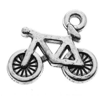 Antique Silver Bicycle Charms (Double-Sided) at BaublesOfFun.com