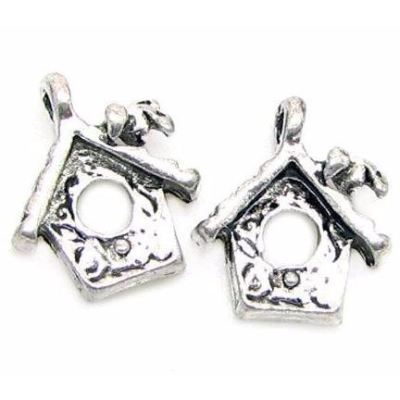 Antique Silver Bird House Charm at BaublesOfFun.com