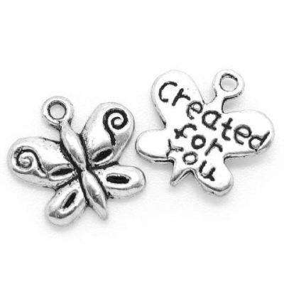 Antique Silver Butterfly Created For You Charm at BaublesOfFun.com