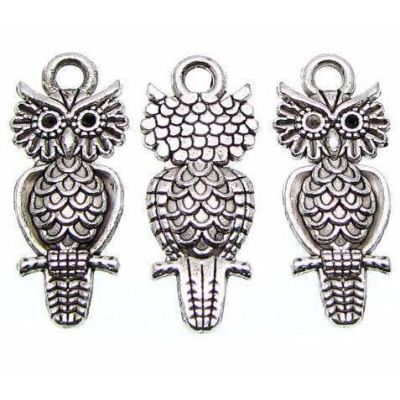 Antique Silver Double-Sided Owl Charm at BaublesOfFun.com