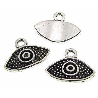 Antique Silver Evil Eye Charm at BaublesOfFun.com