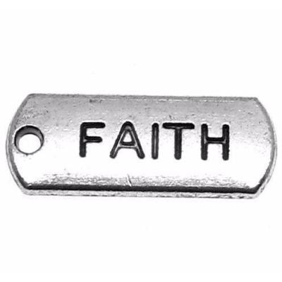 Antique Silver Faith Message Charm / Inspirational Stamped Pendant at BaublesOfFun.com