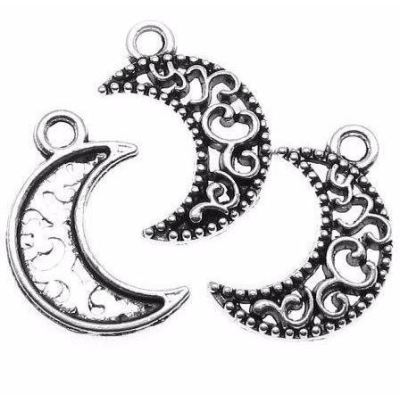 Antique Silver Filigree Celestial Crescent Moon Charms at BaublesOfFun.com