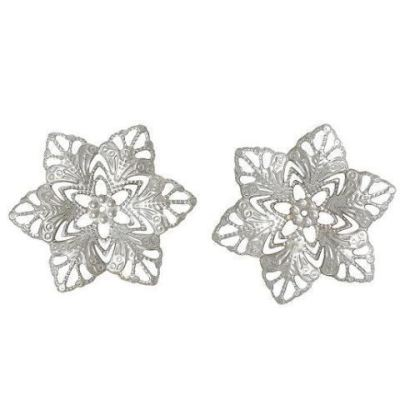 Antique Silver Filigree Flower Wraps Connectors | Metal Stampings | Links - Embellishments