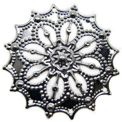 Antique Silver Filigree Stampings | Connectors | Links | Platinum Metal - Embellishments