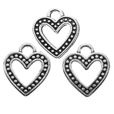Antique Silver Heart Charms at BaublesOfFun.com