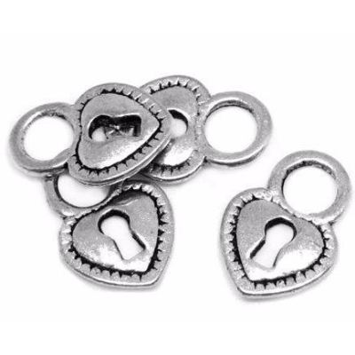 Antique Silver Heart Skeleton Key Lock Charms at BaublesOfFun.com