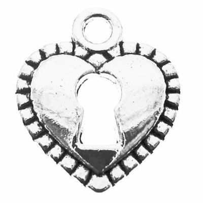 Antique Silver Heart Skeleton Key Lock Charm at BaublesOfFun.com