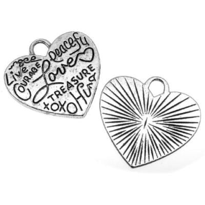 Antique Silver Inspirational Heart Charm - Charms