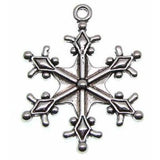 Antique Silver Large Snowflake Charm (Double-Sided) at BaublesOfFun.com