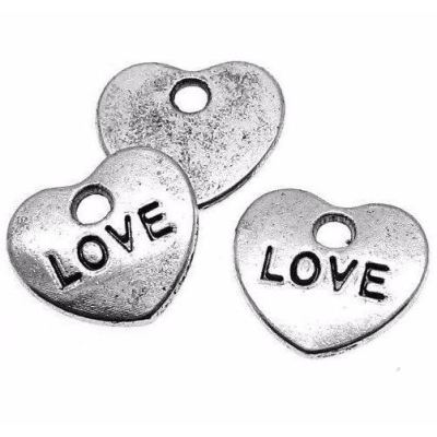 Antique Silver Love Heart Charm at BaublesOfFun.com