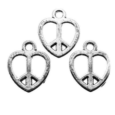 Antique Silver Love Heart Peace Symbol Charms at BaublesOfFun.com