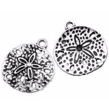 Antique Silver Sand Dollar Charms Beach Pendants at BaublesOfFun.com