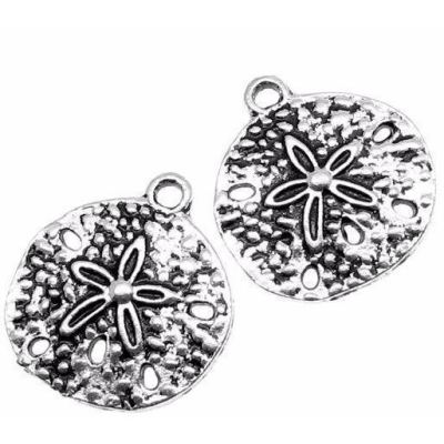Antique Silver Sand Dollar Charms | Ox Beach Pendants at BaublesOfFun.com