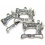 Antique Silver Singer Sewing Machine Charms | Quilting Charm at BaublesOfFun.com