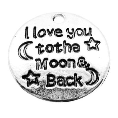 Antique Silver Stamped I Love You To The Moon & Back Charm - Charms