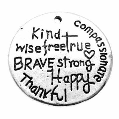 Antique Silver Stamped Kind Compassionate Happy Brave Strong Wise Free True Inspirational Charm - Charms