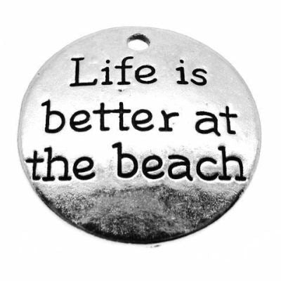Antique Silver Stamped Life Is Better At The Beach Charm - Charms