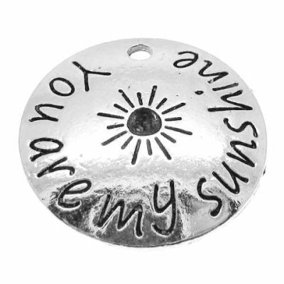 Antique Silver Stamped You Are My Sunshine Inspirational Charm - Charms