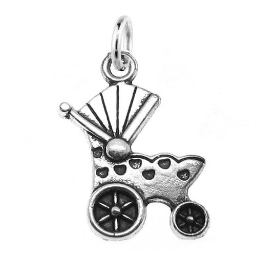 Silver Baby Carriage Charm with Jump Ring at Baubles Of Fun