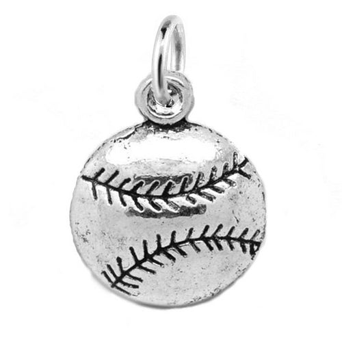 Add-A-Charm Silver Baseball / Softball Sports Charm with Jump Ring