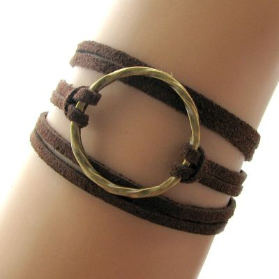 Bohemian Karma Circle Of Life Chocolate Brown Faux Suede Wrap Bracelet (Adjustable) - Arm Candy