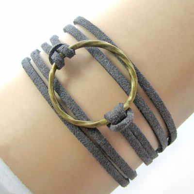Bohemian Karma Circle Of Life Grey Suede Wrap Bracelet (Adjustable) - Arm Candy