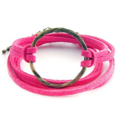 Bohemian Karma Circle Of Life Hot Pink Suede Wrap Bracelet (Adjustable) - Arm Candy