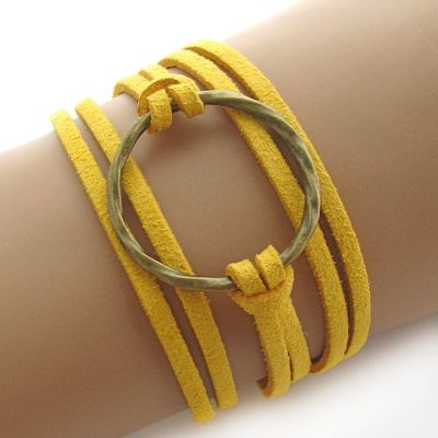 Bohemian Karma Circle Of Life Mustard Gold Suede Wrap Bracelet (Adjustable) - Arm Candy