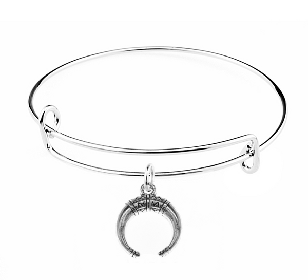 Silver Boho Horn Charm on Bangle Bracelet at Baubles Of Fun