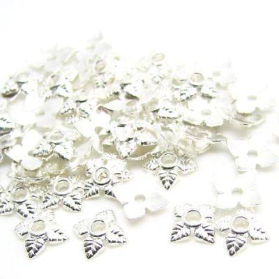 Bright Silver 6Mm Leaf Bead End Caps [100 Pieces]