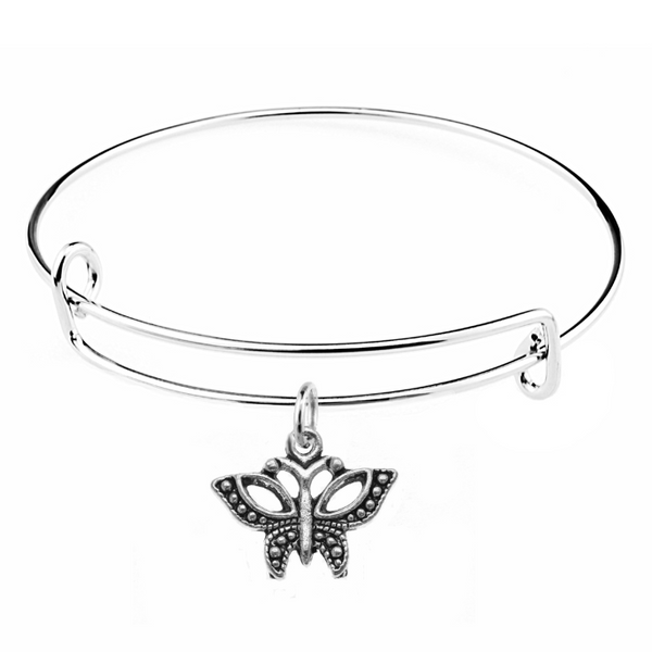 Silver Butterfly Charm on Bangle Bracelet at Baubles Of Fun