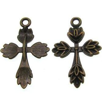 Antique Brass Religious Cross Pendant at BaublesOfFun.com