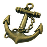 Charms: 10 Oxidized Brass Boat Anchor / Antique Bronze Pendants / Connector ... Lead Nickel & Cadmium Free 10917.j2D