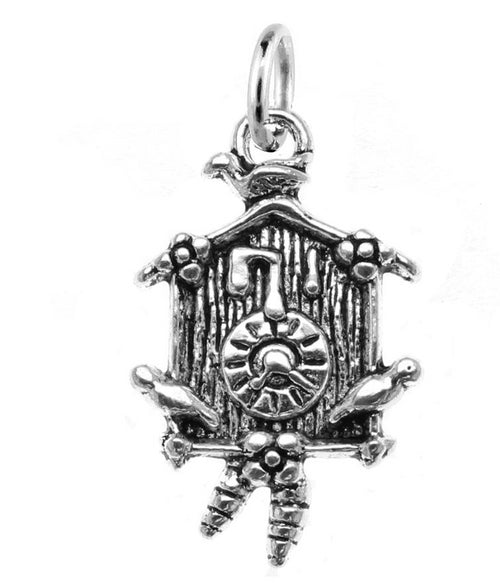 Silver German Cuckoo Clock Charm with Jump Ring