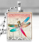 Scrabble Tile Pendant with Silver Ball Chain Necklace (Dragonfly)